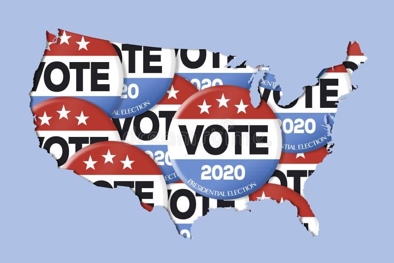 Aktion 2020 röstar knappar och USA-översikten vektor illustrationer