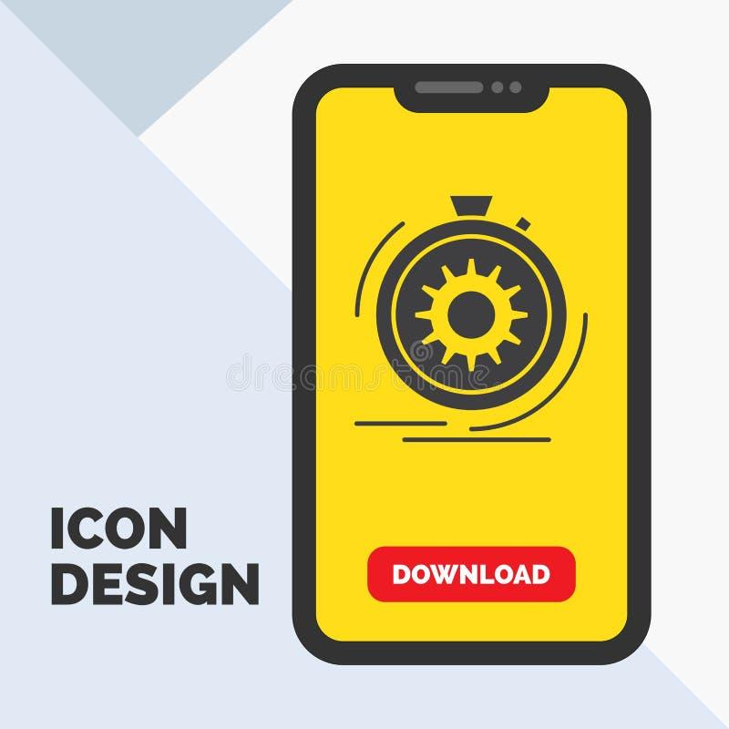 Aktion, schnell, Leistung, Prozess, Geschwindigkeit Glyph-Ikone im Mobile für Download-Seite Gelber Hintergrund stock abbildung