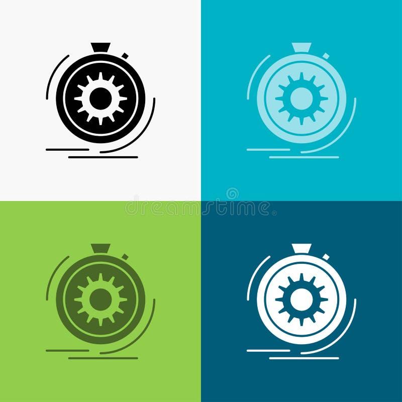 Aktion, schnell, Leistung, Prozess, Geschwindigkeit Ikone über verschiedenem Hintergrund Glyphartdesign, bestimmt f?r Netz und AP vektor abbildung