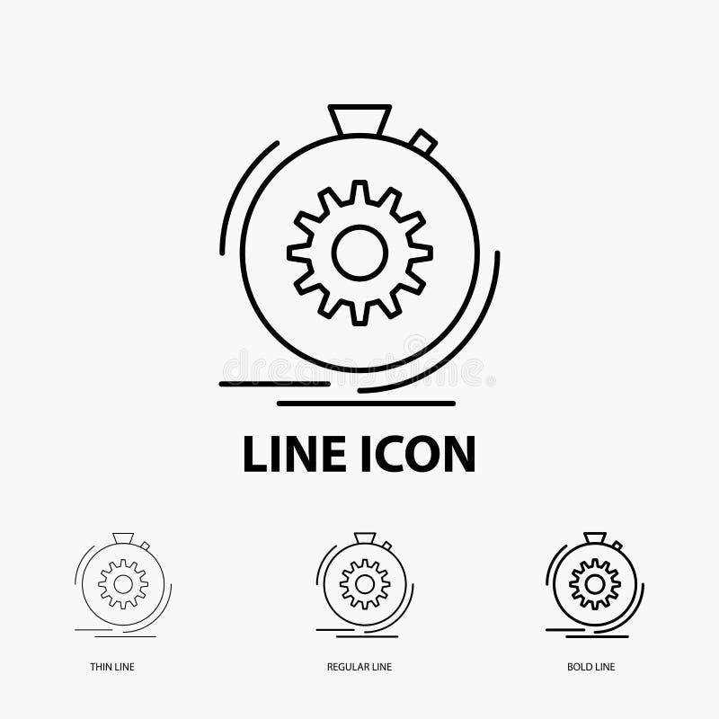 Aktion, schnell, Leistung, Prozess, Geschwindigkeit Ikone in der dünnen, regelmäßigen und mutigen Linie Art Auch im corel abgehob vektor abbildung