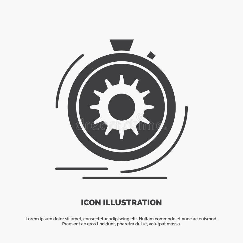 Aktion, schnell, Leistung, Prozess, Geschwindigkeit Ikone graues Symbol des Glyphvektors f?r UI und UX, Website oder bewegliche A stock abbildung