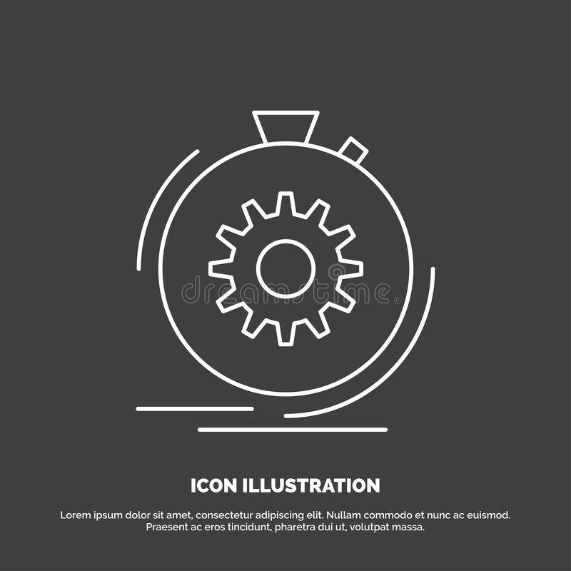 Aktion, schnell, Leistung, Prozess, Geschwindigkeit Ikone Linie Vektorsymbol f?r UI und UX, Website oder bewegliche Anwendung stock abbildung
