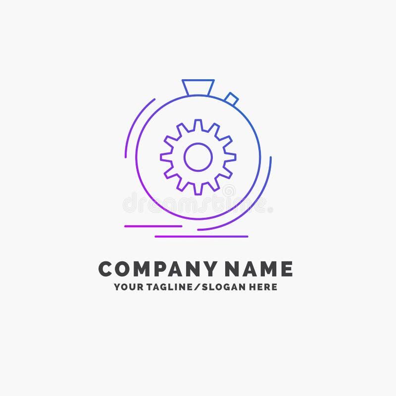 Aktion, schnell, Leistung, Prozess, Geschwindigkeit purpurrotes Geschäft Logo Template Platz f?r Tagline stock abbildung