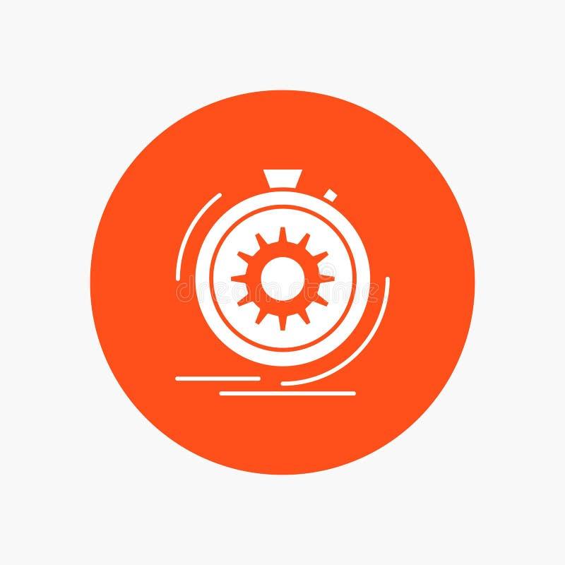 Aktion, schnell, Leistung, Prozess, Geschwindigkeit weiße Glyph-Ikone im Kreis Vektor-Knopfillustration lizenzfreie abbildung