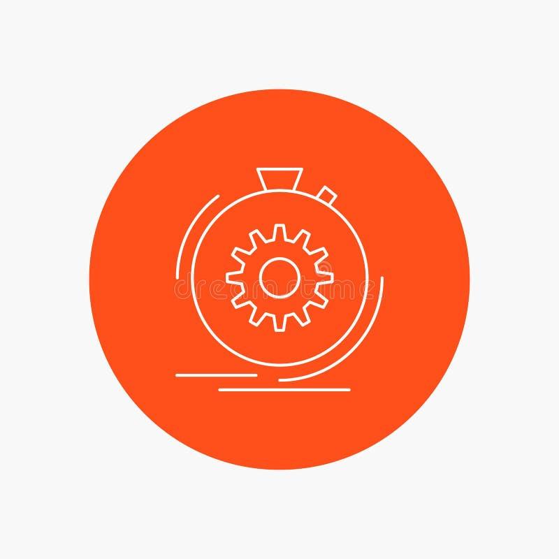 Aktion, schnell, Leistung, Prozess, Geschwindigkeit weiße Linie Ikone im Kreishintergrund Vektorikonenillustration vektor abbildung