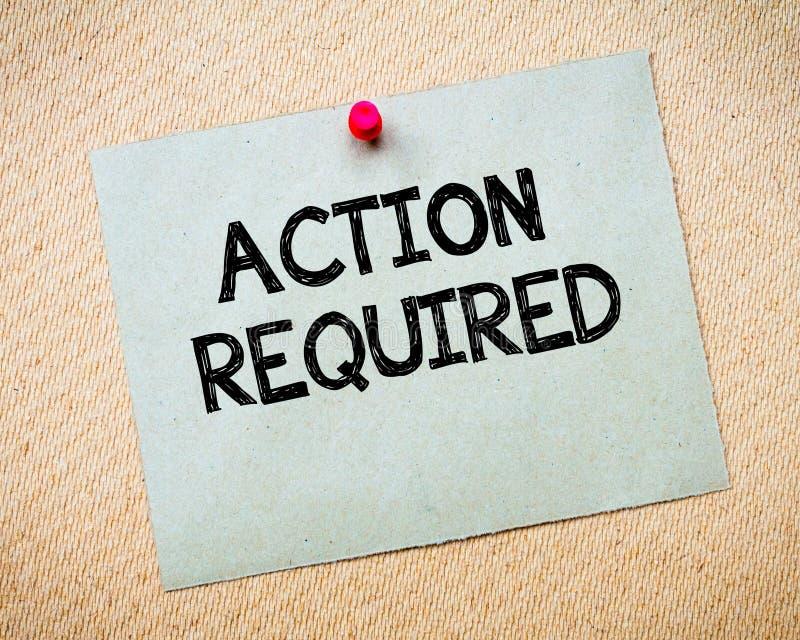 Aktions-erforderliche Mitteilung lizenzfreie stockbilder