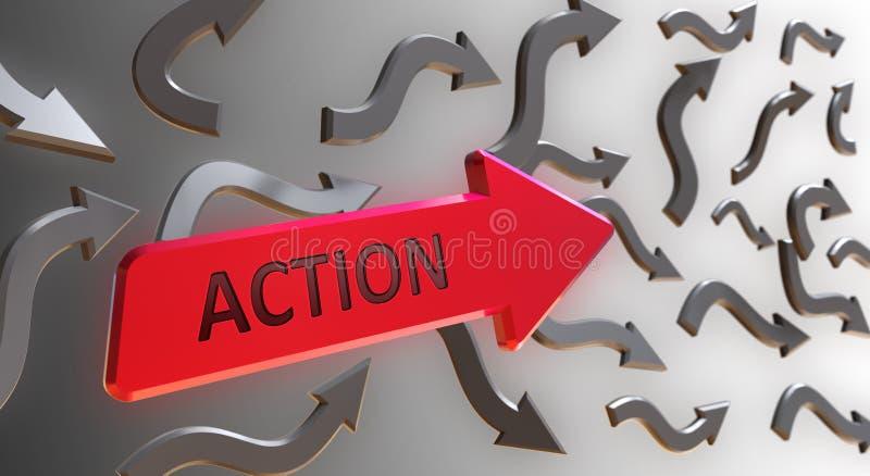 Aktions-Wort auf rotem Pfeil vektor abbildung