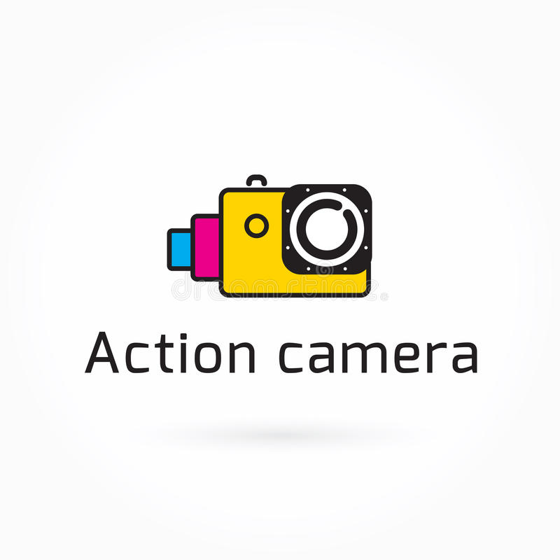Aktionskameraikone, bunte Vektorillustration, Logo Template, lizenzfreie abbildung