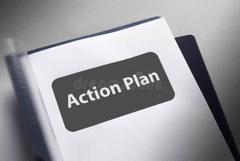 Aktionsplan Dokument stockfotos