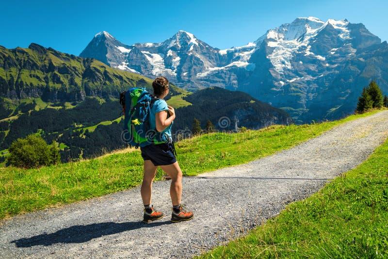 Aktiv hikerkvinna med ryggsäck, njuter av synen, Murren, Schweiz royaltyfria foton