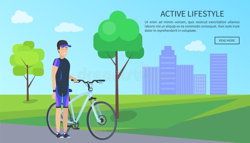 Aktiv livsstil, cyklistvektorillustration stock illustrationer