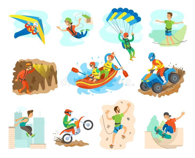 Aktiv livsstil för extrem sport av folkvektorn stock illustrationer