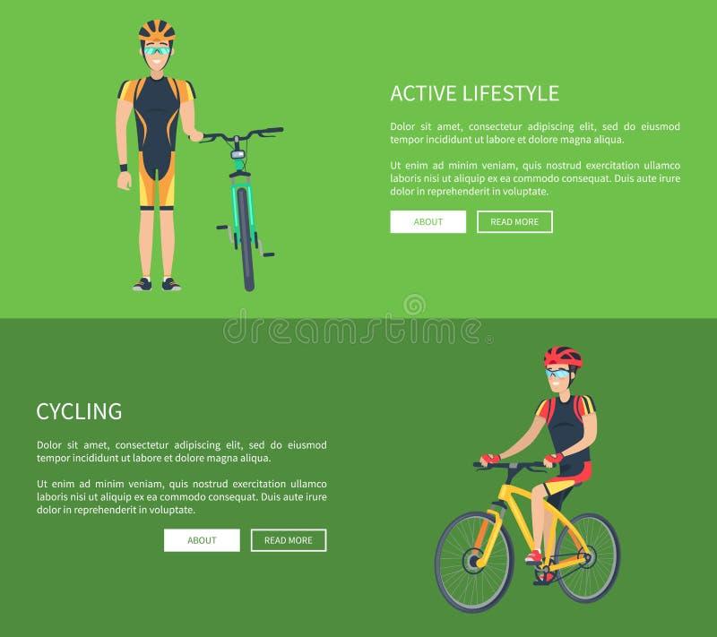 Aktiv livsstil och cykla vektorillustrationen royaltyfri illustrationer