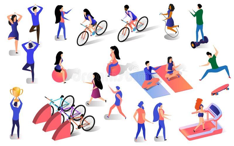 Aktiv livsstiluppsättning för olikt isometriskt folk stock illustrationer