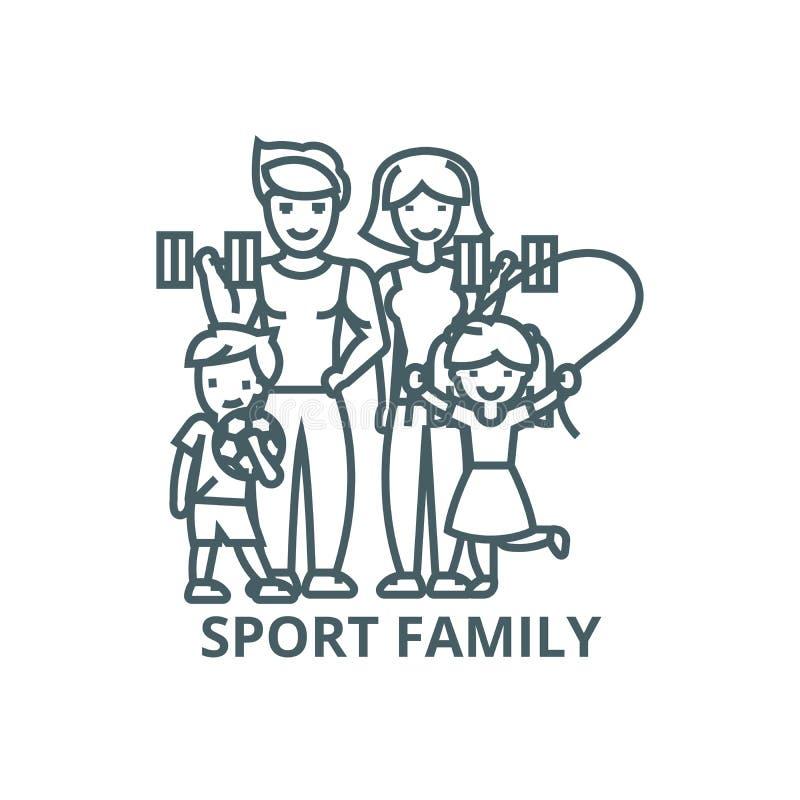 Aktiv lycklig familj i sportidrottshalllinjen symbol, vektor Aktiv lycklig familj i tecknet för sportidrottshallöversikt, begrepp vektor illustrationer