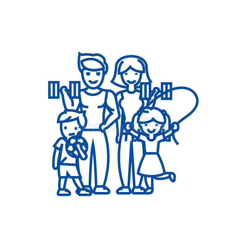 Aktiv lycklig familj i sportidrottshalllinjen symbolsbegrepp Aktiv lycklig familj i symbolet för vektor för sportidrottshall det  royaltyfri illustrationer