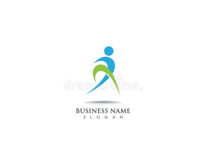aktiv lycklig logo för folk och vektorsymbol royaltyfri illustrationer