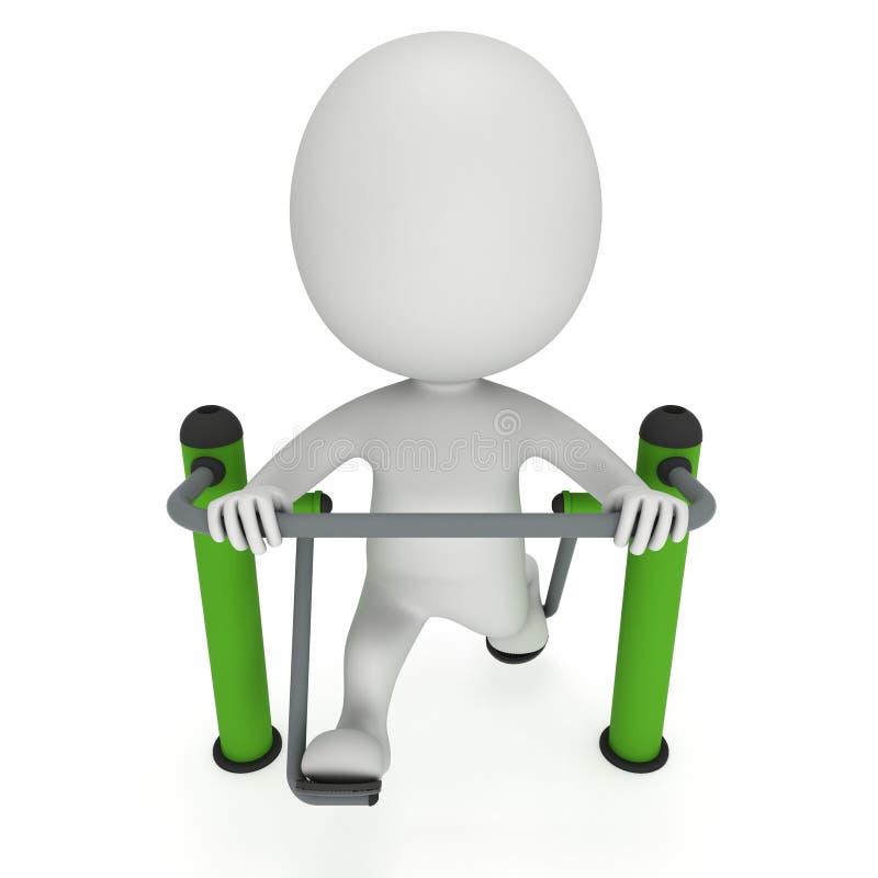 Aktiv man som 3D övar på den utomhus- fitnesinstruktörmaskinen royaltyfri illustrationer