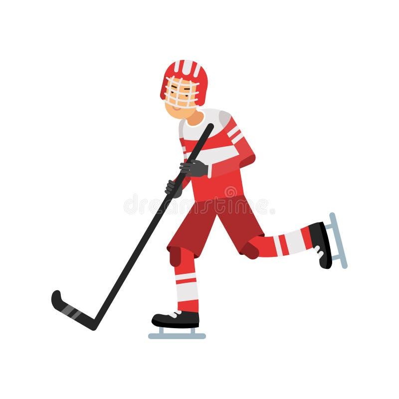 Aktiv tonårig pojke som spelar hockey, ishockeyspelare, aktiv livsstilvektorillustration vektor illustrationer