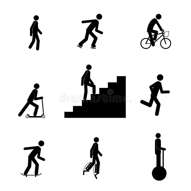 Aktiv uppsättning för medelpinneman vektor illustrationer