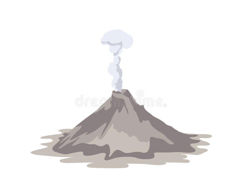 Aktiv vulkan som får utbrott och sänder ut rökmolnet från krater som isoleras på vit bakgrund vulkanisk utbrottimponerande f?rest royaltyfri illustrationer