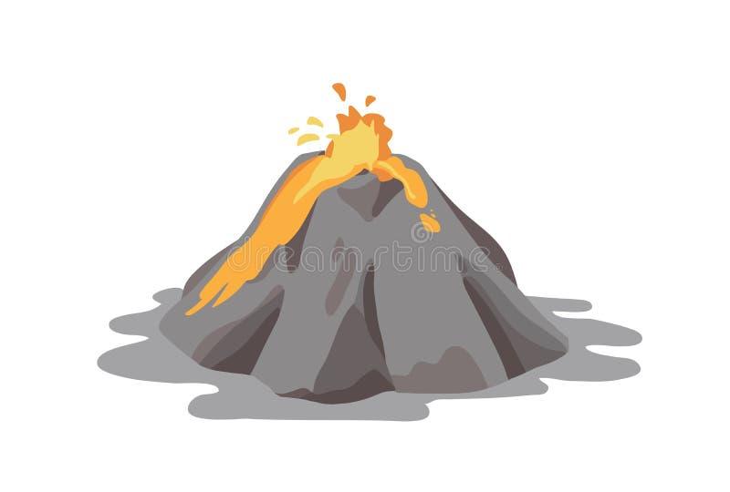 Aktiv vulkan som får utbrott och skjuter ut lavaspringbrunnen från krater som isoleras på vit bakgrund Vulkanutbrott som är seism royaltyfri illustrationer