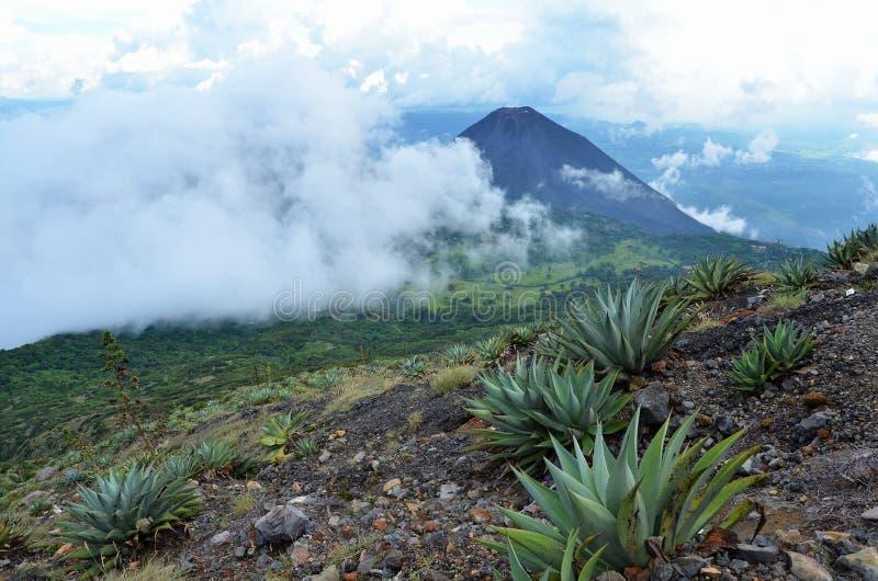 Aktiv vulkan Yzalco och moln arkivbild