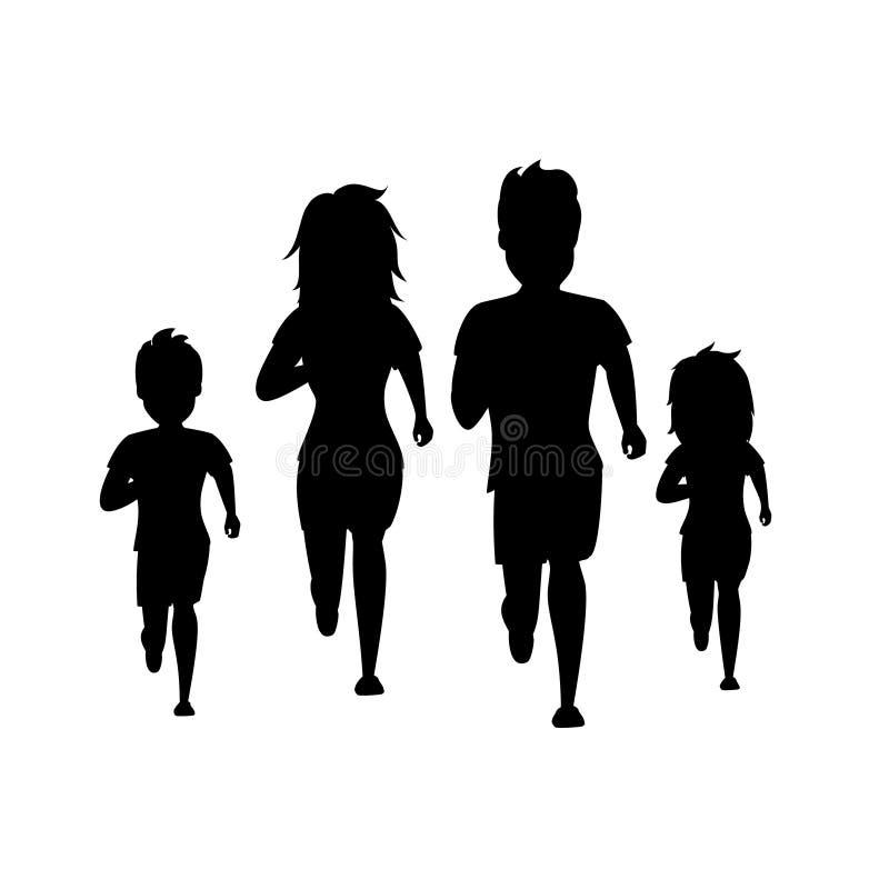 Aktiva föräldrar och barn för flicka för pojke för kvinna för familjman som kör jogga tillsammans konturer för främre sikt, isole royaltyfri illustrationer