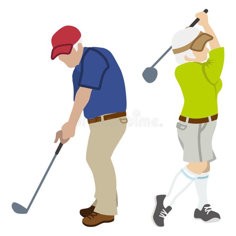 Aktiva höga par som spelar golf stock illustrationer