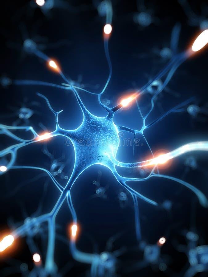 Aktiva nervceller stock illustrationer