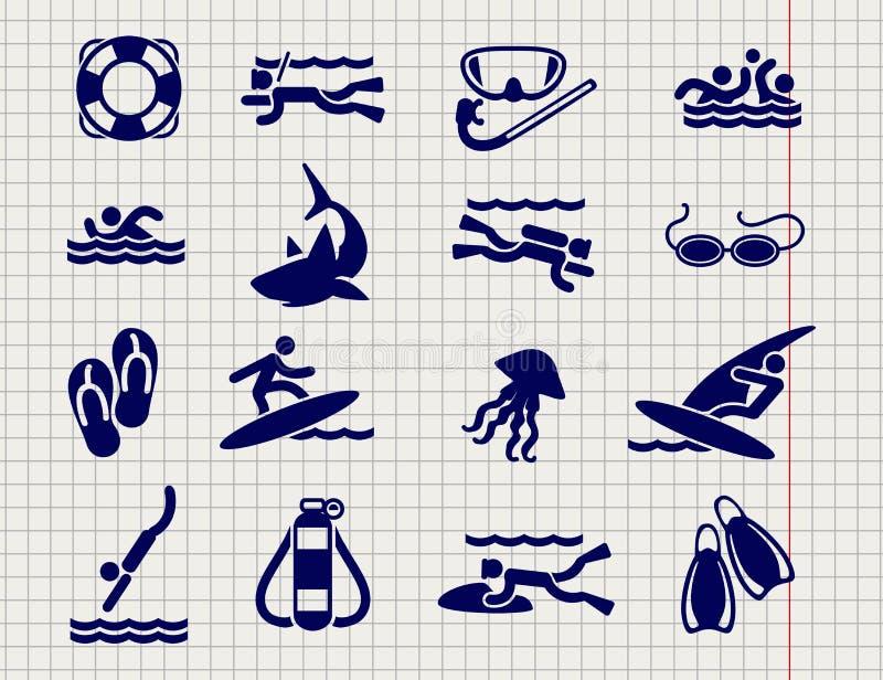 Aktiva sportlägenhetsymboler royaltyfri illustrationer
