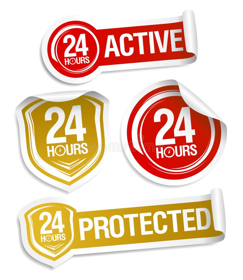 24 aktiva timmar och 24 skyddade timmar royaltyfri illustrationer