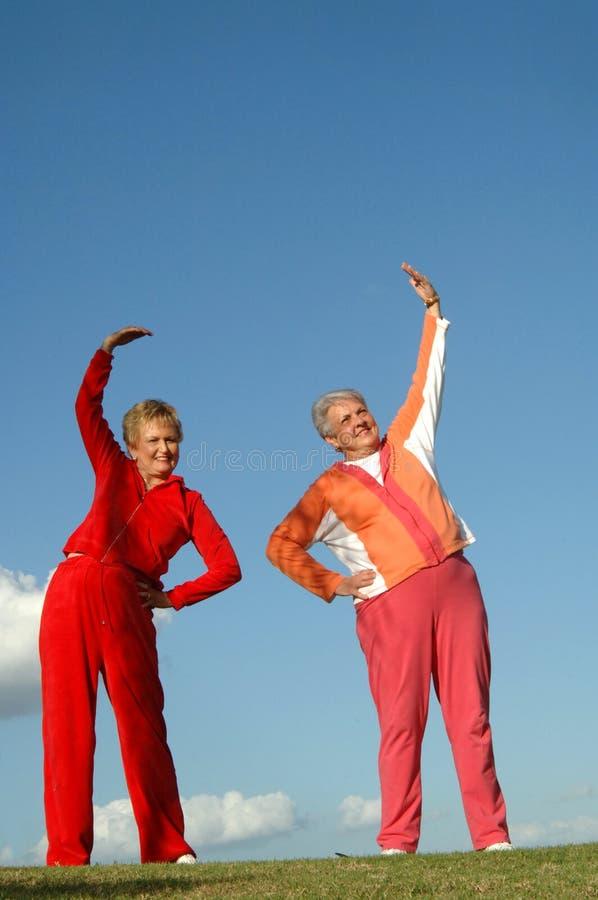 Aktive ältere Frauen stockbild