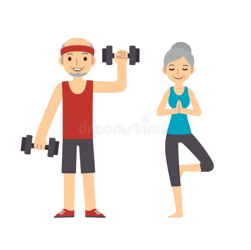 Aktive ältere Paare lizenzfreie abbildung