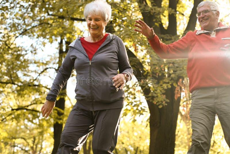 Aktive ältere Paare zusammen im Park, der Spaß hat stockfotos