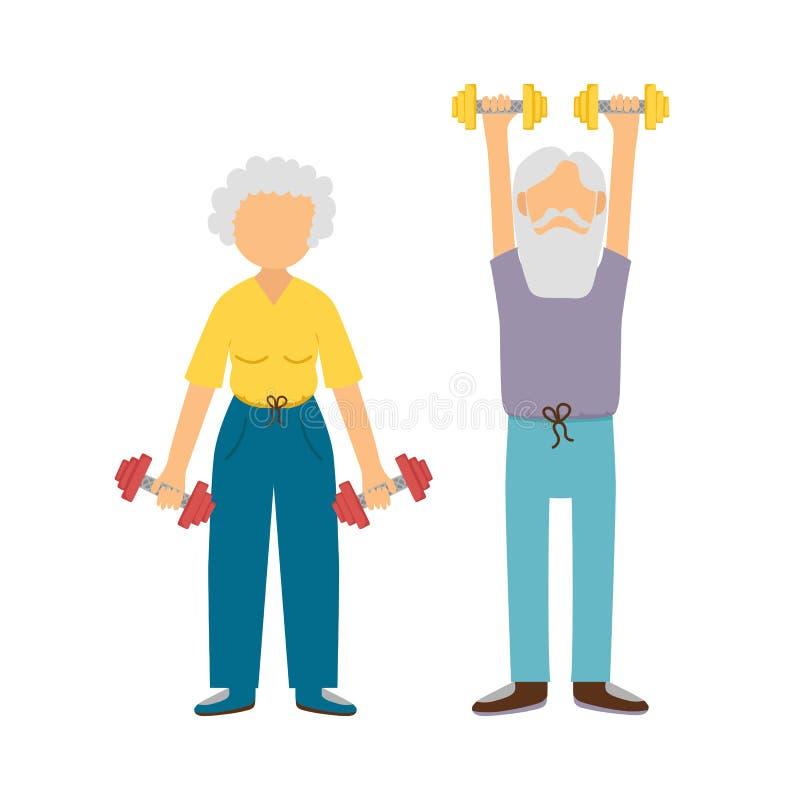 Aktive alte Frau und Mann der Vektorkarikatur lizenzfreie abbildung