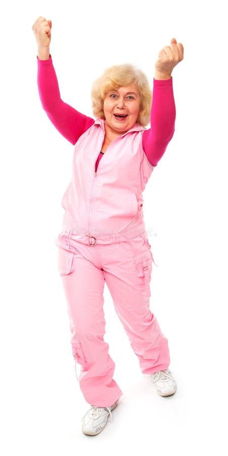 Aktive glückliche ältere Dame getrennt lizenzfreie stockfotos