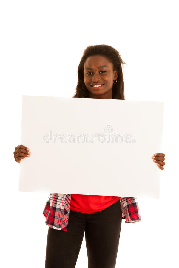 Aktive junge Frau, die leere weiße Fahne für zusätzliches gra hält lizenzfreies stockfoto