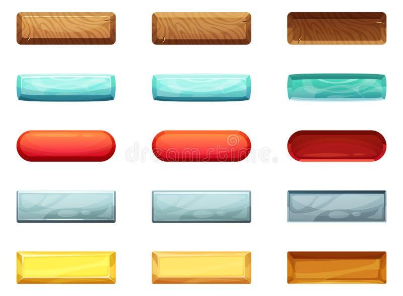 Aktive Knöpfe, ausgeschaltet und Drücken Animation von verschiedenen Zuständen stock abbildung