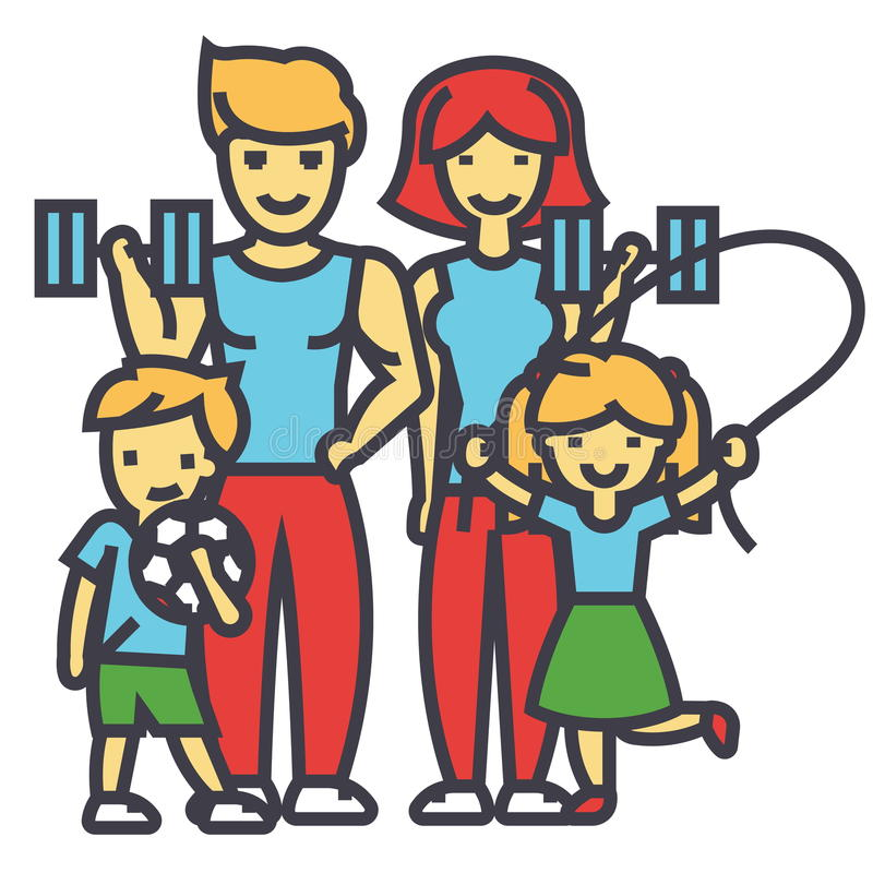 Aktive Sportfamilie, glückliche Eltern und Kinder in der Turnhalle, Training übt Konzept aus stock abbildung