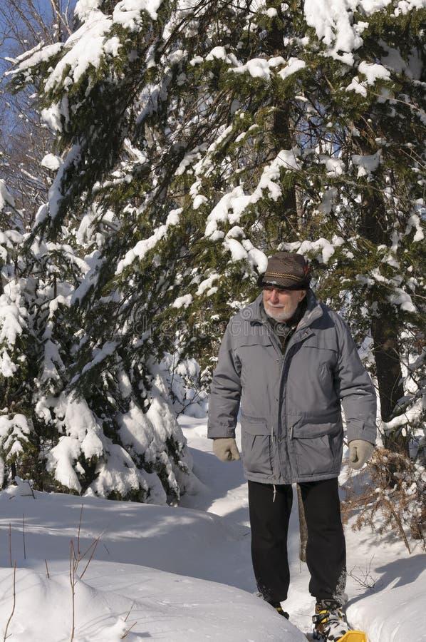 Aktiver Älterer mit Snowshoes lizenzfreie stockfotos