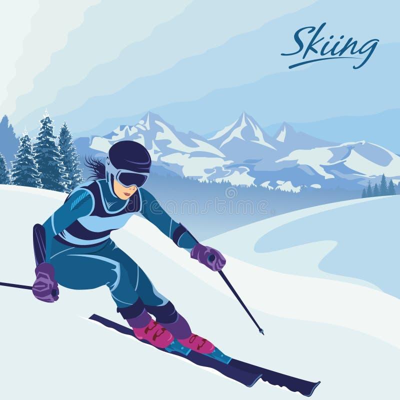 Aktiver Feiertag des Winters in den Bergen Skifahren, Snowboarding und Slalom Vektor vektor abbildung
