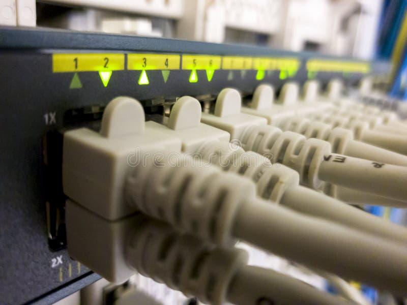 Aktiver Schalter des Blinkennetz-Ethernets mit verbundenen Kabeln im Serverraum stockbild