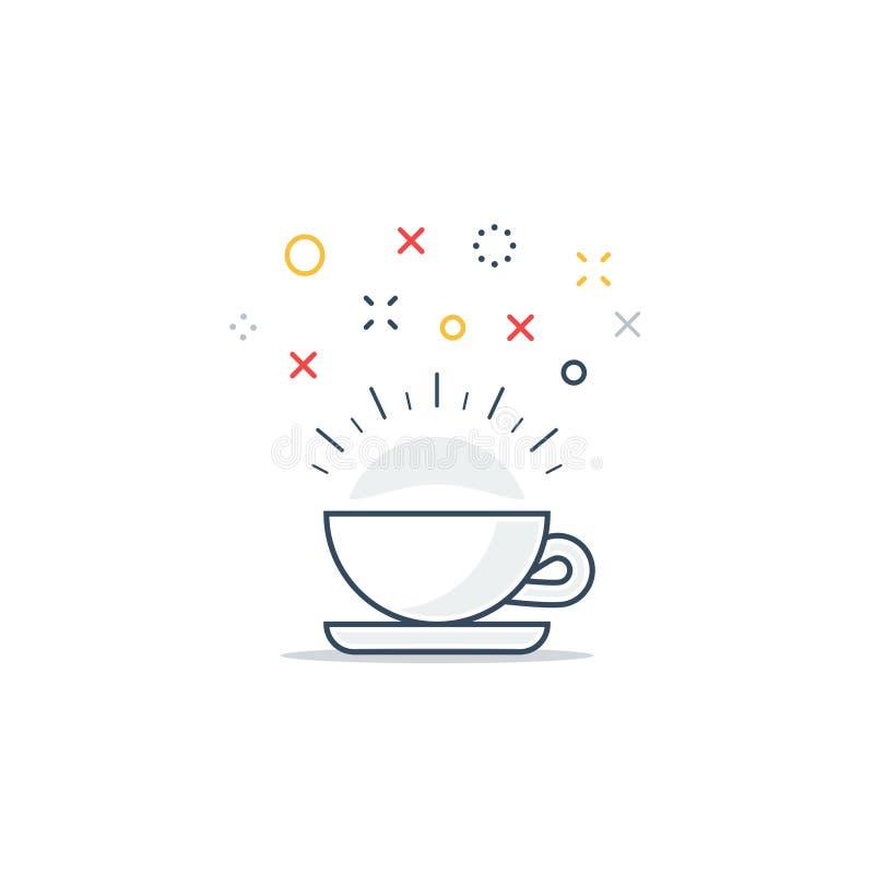 Aktiverande drink, uppfriskande te och kaffekopp vektor illustrationer
