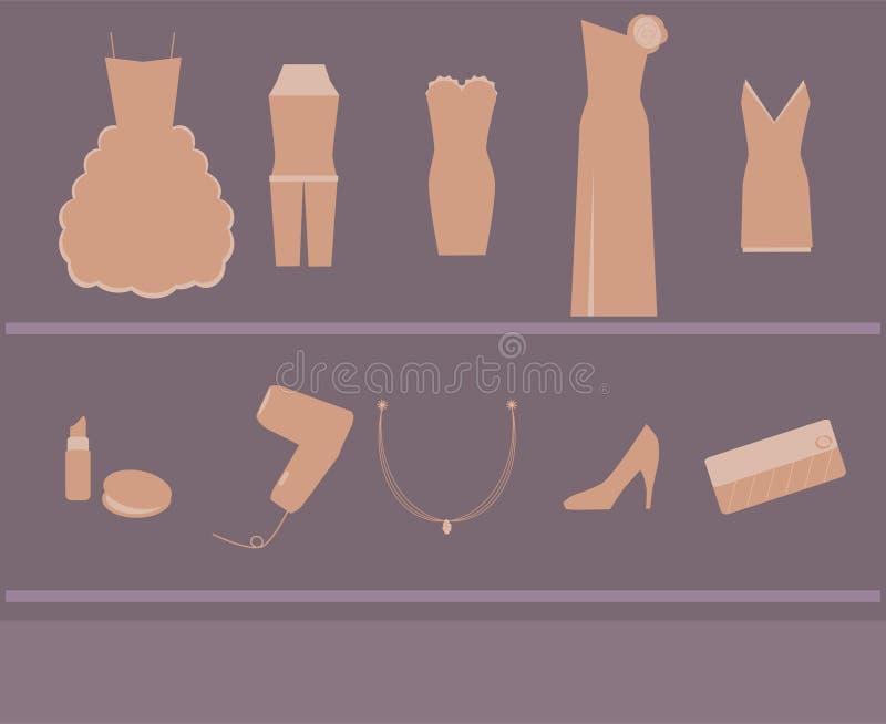 aktiveringskvinna för klänning s vektor illustrationer