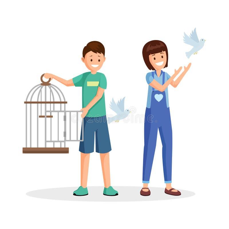 Aktivister som ställer in fåglar, frigör den plana vektorillustrationen Tecknad filmungar, tonåringar med den öppna fågelburen so stock illustrationer