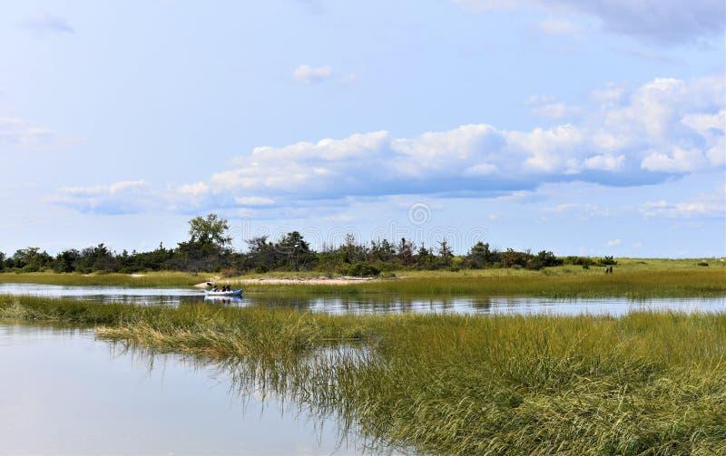 Aktivitet för bred flodmynning för äng för New York Long Island sjunken fotografering för bildbyråer