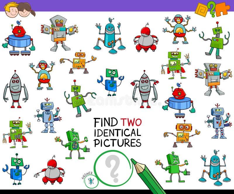 Aktivitet för identiska robotar för fynd två bildande stock illustrationer