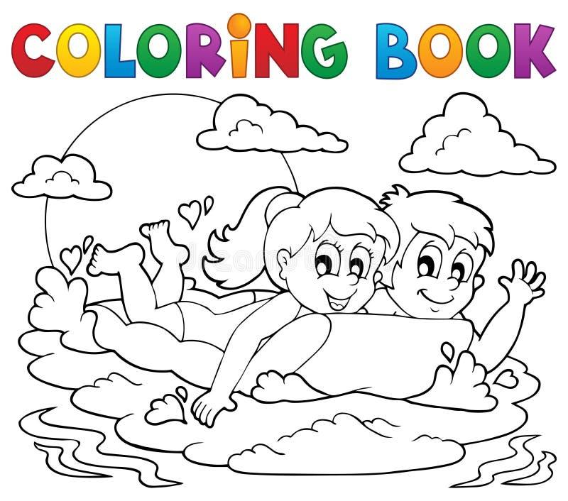 Aktivitet 1 för sommar för färgläggningbok royaltyfri illustrationer