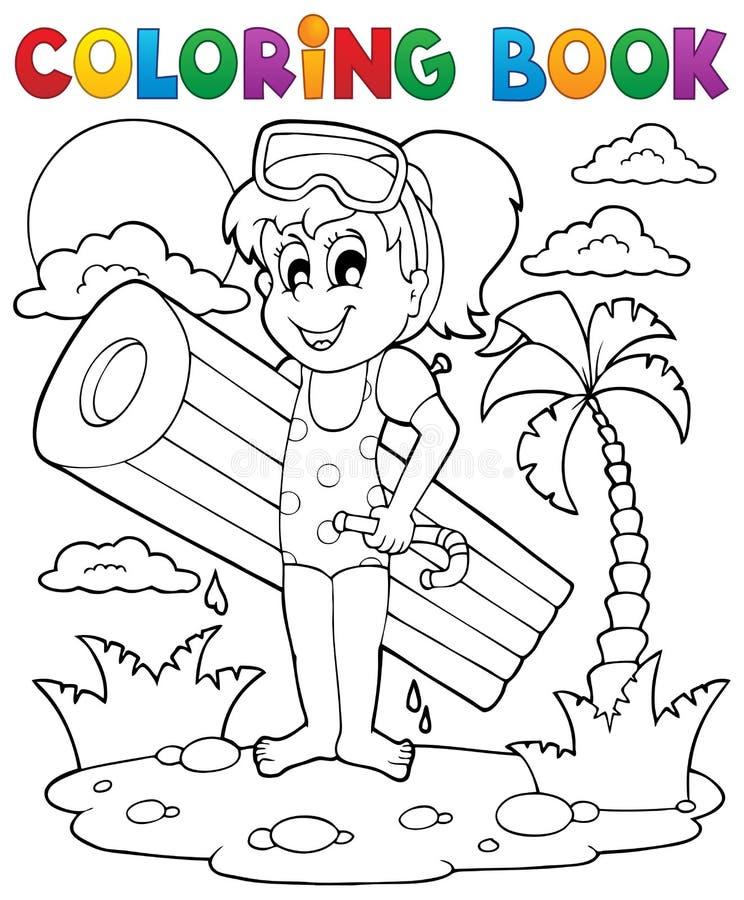 Aktivitet 2 för sommar för färgläggningbok vektor illustrationer